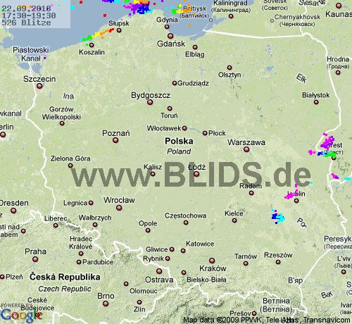 Lightning Poland 17:30 UTC Sat 22 Sep