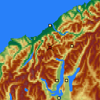 Nearby Forecast Locations - Mt Aspiring NP - Map